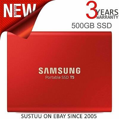 Samsung T5 500GB USB 3.1 Portable External SSD│Solid State Drive│Type-C│Red