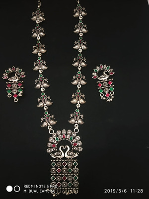 Indian Women Silver Oxidized Peacock Necklace Set Fashion Jewelry Bihu Trible Fashion Jewellery Jewellery & Watches