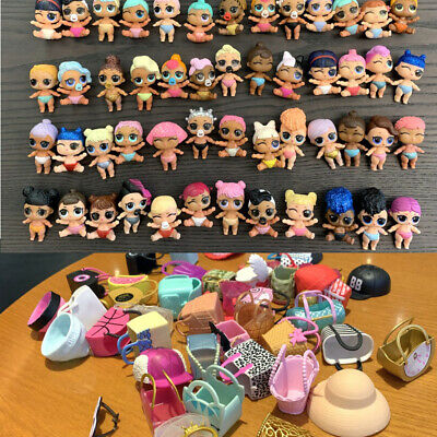 Random 10x LOL Surprise Doll Lil Sister collect toy + bag cap accessory genuine