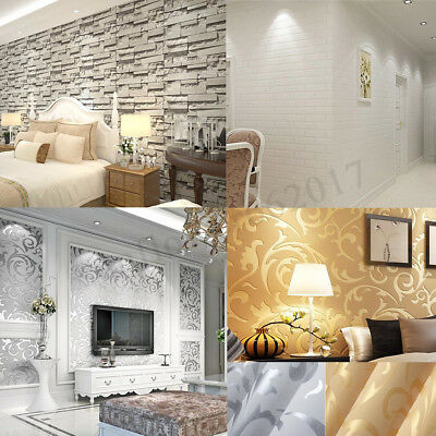10M 53cm Wall Paper Roll Embossed Feature 3D Textured Modern Style Wallpaper