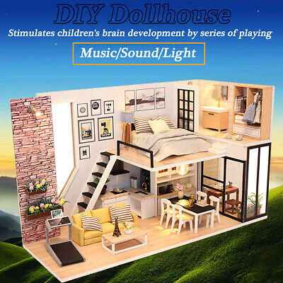 DIY LED Wooden Dollhouse Miniature Wood Make Furniture Kit Doll House Kid's Toy