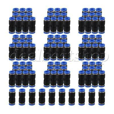 100pcs Black 8mm Push In Straight Air Pneumatic Connector Quick Fittings