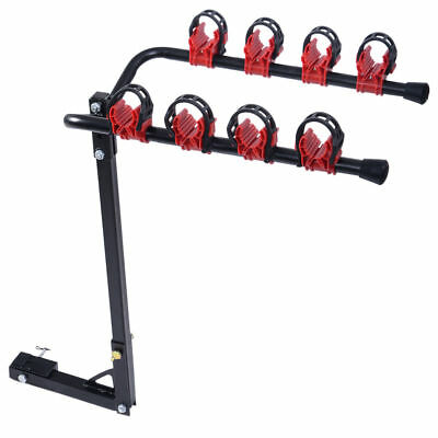 4 Bicycle Carrier Bike Car Rear Rack Trunk Mount Strap-On Foldable Steel A