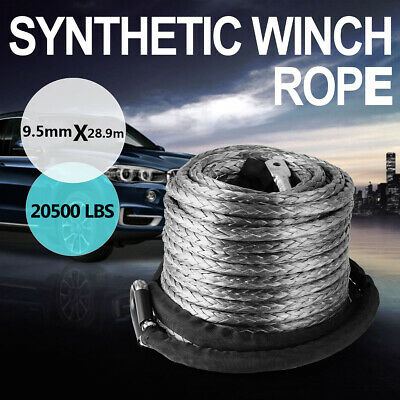 20500LBs Winch Rope 10MM x 30M Hook Synthetic Car Tow Recovery Cable
