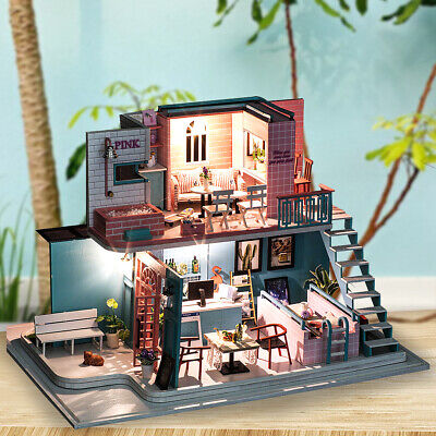 DIY Wooden Doll House Miniature Kit Ancient Architecture Dollhouse Toy Gifts A