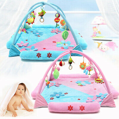 Large Foldable Kids Baby Musical Play Mat Activity Gym Playmat w/ Hanging