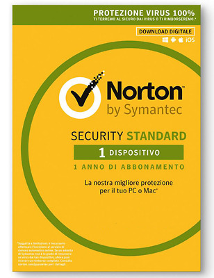 Norton Security Standard 2019|1 Devices PC Mac Android iOS|1 Anno ESD NEW fattur