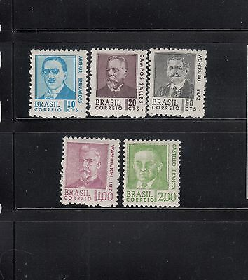 Brazil 1967-1968 Presidents Sc 1063-1067  complete Mint Never Hinged