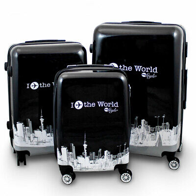 BERWIN Reisekofferset 3-teilig Hartschalenkoffer Trolley Koffer Fly The World