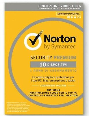 Norton Security Premium 2019|10 Devices PC Mac Android iOS|1 Anno ESD NEW fattur