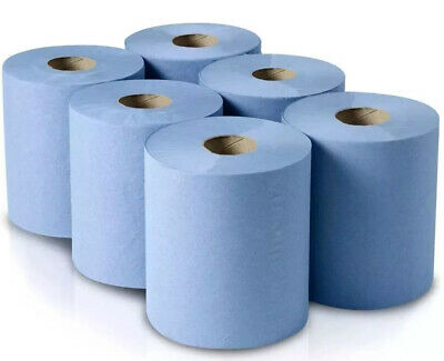 6 Pack Office Workshop Blue Hand Towels Rolls 2 Ply Centre feed Rolls Wipes