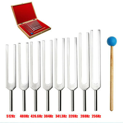 8 Tuning Fork Set Medical Surgical Physical Diagnostic instruments With Wood  !