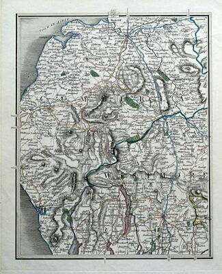 LAKE DISTRICT CUMBRIA, Cumberland, Westmorland, John Cary Antique Map c1795