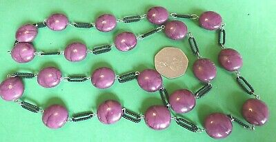 ma27---STUNNING UNUSUAL BLACK & MARBLE EFFECT PURPLE BEADS LONG NECKLACE