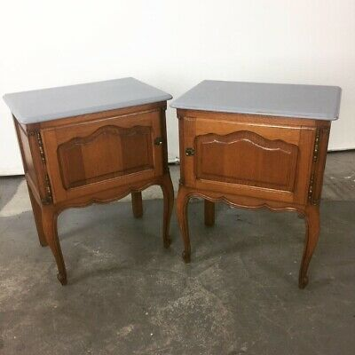 French Oak Antique Bedside Tables Cupboards Cabinets.  Louis XVI Shabby Chic