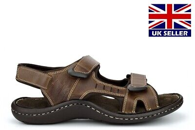 Dr Keller Mens Leather Sandals Brown Real Leather Soft Insole Light Weight Size