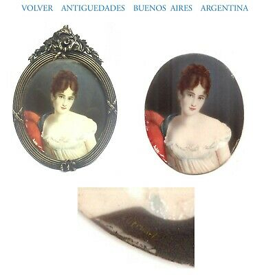Very interesting old sensual pretty lady painting miniature bronze french frame