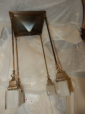 1907 Antique Rod Hung Arts & Crafts  Mission Fixture Original vintage Shades