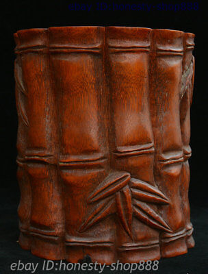 Collect Chinese Dynasty Palace Bamboo Pen Container Brush Pot Pencil Vase Statue