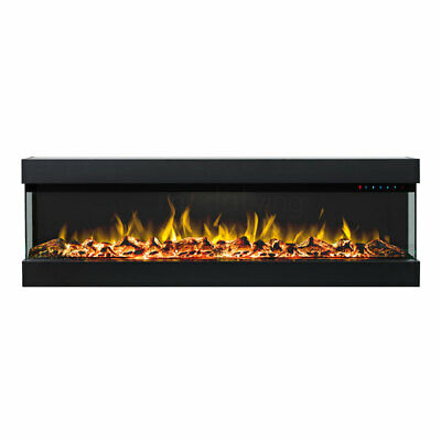 New 60 Inch Electric Fireplace Heater Recessed Wall Mounted 3 Sided Glass