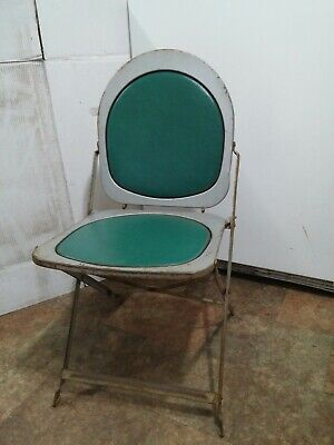 """Vintage 1940's 1950's Decor Metal Industrial Folding Chairs 16"""" x 16"""" x 32"""""""