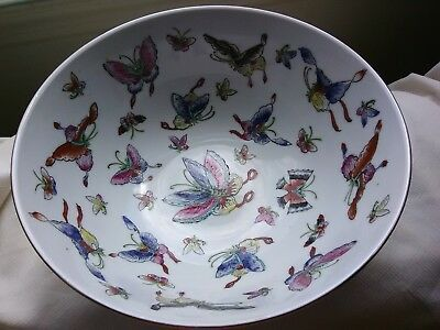 Acf Japanese Ware Butterfly Bowl Large Hand Painted Beautiful Serving Ex Cond