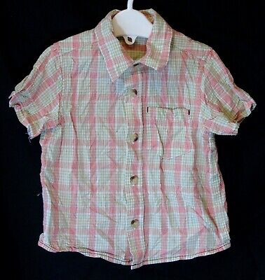 Baby Boys Mothercare Red Green Check Short Sleeve Casual Shirt Age 12-18 Months