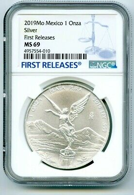 2019 Mo Mexico 1Oz Onza Silver Libertad Ngc Ms69 First Releases Blue Label