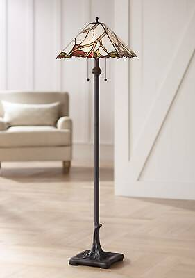 Tiffany Style Floor Lamp Bronze Cherry Blossom Stained Glass For Living Room