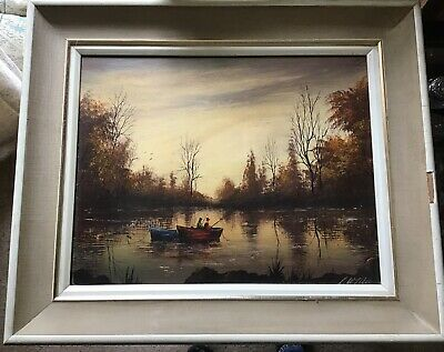 "vintage oil on board signed L W Mee in damaged frame 21.5"" x 17.5"""