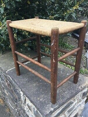 Vintage Antique Wood Weaved Stool Rustic Reed Rattan Rush Arts and Crafts Seat