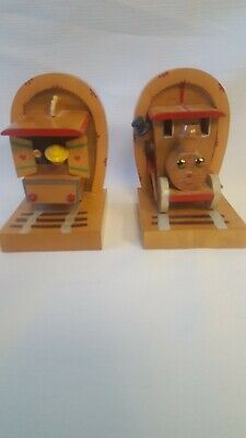 Antique Vintage Anri Italy Wood Train Bookends Engine Conductor/Caboose Children