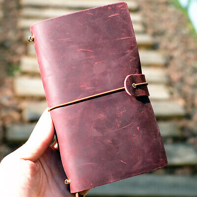 """Joyful Time"" 1pc Genuine Cowhide Leather Business Travel Journal Notebook Diary"