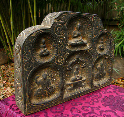 Old Small Tibetan Wooden Shrine with Buddha, a Unique Specimen