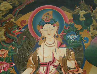 Masterpiece Thangka White Tara - Dolma from Nepal 28 5/16x20 1/2in, Wonderful