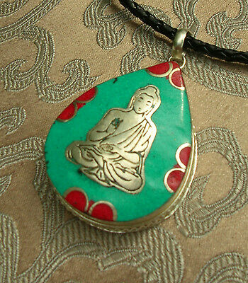 Great Tibetan Wooden Amulet Gau Buddha from Nepal with Turquoise and Coral