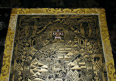 Very Fine Thangka! Wheel of Life of Life I Brocade Nepal 35 13/16x20 1/2in