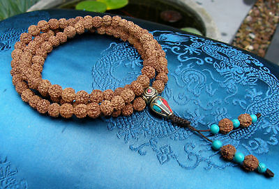 Especially Beautiful Mala Rosary from Small Rudraksha Pearls 34 5/8in from Tibet