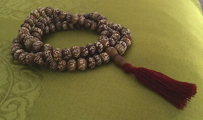 Dainty Mala from Bodhibaum-Holz Nepal with Mantra: Om Mane Padme Hum 23 5/8in