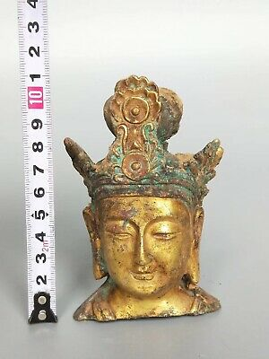 China Ancient Tang Dynasty Tomb Burial Gilt Bronze Buddha's Head Statue Kwan-yin