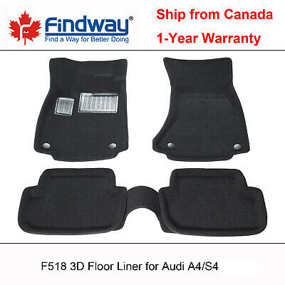 Black all Weather 3D Custom Car Floor Mats / Liners for 2009-2016 Audi A4 / S4