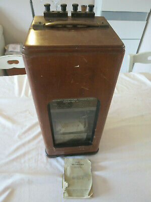 antique wooden cased ammeter Elliott Brothers London with print out
