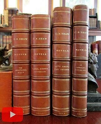 George Bernard Shaw 4 Novels 1920's leather books Irrational Knot Artists Social