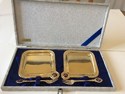 Small Gold Plated Plates / Servers And Forks Boxed Twin Bird Japan