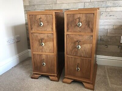 Matching pair of Vintage Antique Walnut Art Deco bedside cabinets drawers