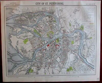 St. Petersburg Russia Neva river 1883 Lett's SDUK-style detailed urban city plan