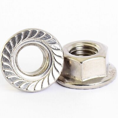 """A2 304 Stainless Steel - UNC Flange Nuts Lock Nut - 1/4""""-20, 5/16""""-18, 3/8""""-16"""