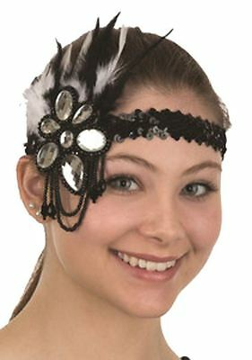 Sequin Flapper Headband Red Roaring 20s 30s With Feathers /& Jewel Decoration