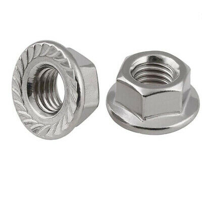 A2 304 Stainless Steel - Fine Pitch Thread Flange Nuts Lock Nut - M8 M10 M12