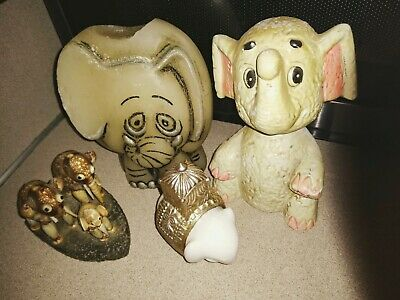 Elephant Lot vintage white piggy bank bobble head avon royal elephant cologne